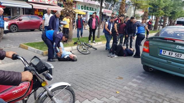 Motosiklet ile Bisiklet Çarpıştı, 2 Kişi Yaralandı