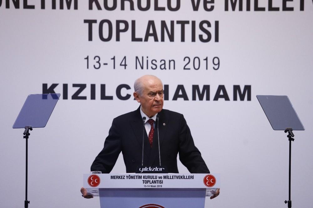 """MHP Genel Başkanı Bahçeli 'İstanbul'daki seçimlere şaibe karıştığını akıl ve vicdan sağlığı yerinde olan hiç kimse inkar edemeyecektir"""""""