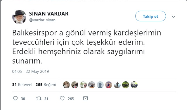 SİNAN VARDAR'DAN TARAFTARA YANIT