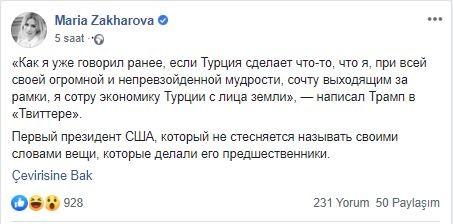 RUSYA'DAN TRUMP'IN SÖZLERİNE İLGİNÇ YORUM