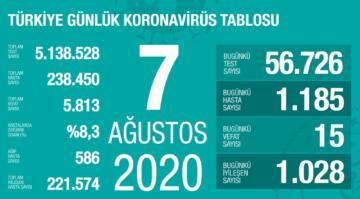 Türkiye'nin koronavirüsten can kaybı 5 bin 813'e yükseldi