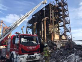 Bandırma Eti Maden Gaz Arıtma bölümünde yangın çıktı