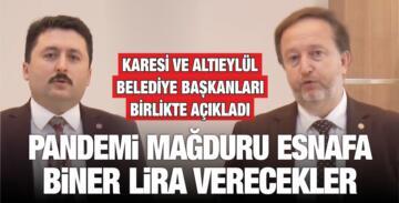 PANDEMİ MAĞDURU ESNAFA BİNER LİRA VERECEKLER