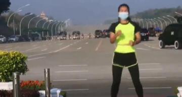 Myanmarlı kadın spor yaparken, darbenin ilk anlarını kaydetti