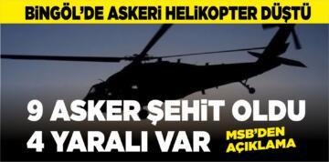 Bitlis Tatvan'da askeri helikopter düştü